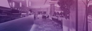 restaurant with purple overlay