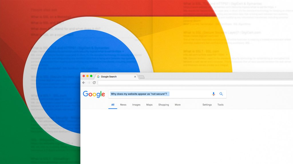 """Image of someone searching for """"Why does my site appear as 'not secure' in Google?"""" in Google Search"""