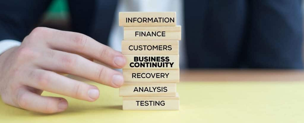 Building Blocks labelled Information, Finance, Customers, Business Continuity, Recovery, Analysis, Testing